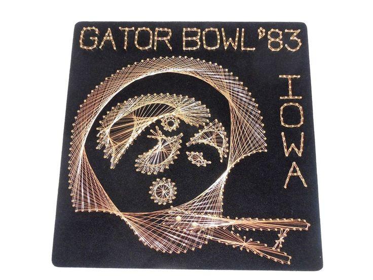 IOWA HAWKEYES RETRO WALL ART 1983 GATOR BOWL HELMET PIN SCULPTURE ARTIST SIGNED #IowaHawkeyes