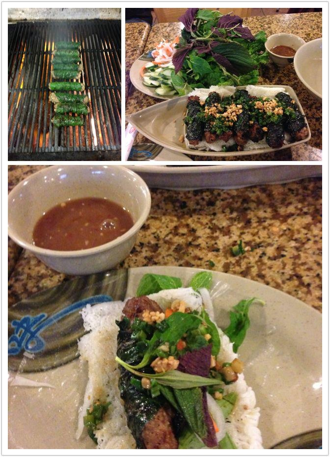 Pho So 1 in Las Vegas: Grounded beef wrap with wild betel leaves and their special home made mam nem sauce with pineapple.