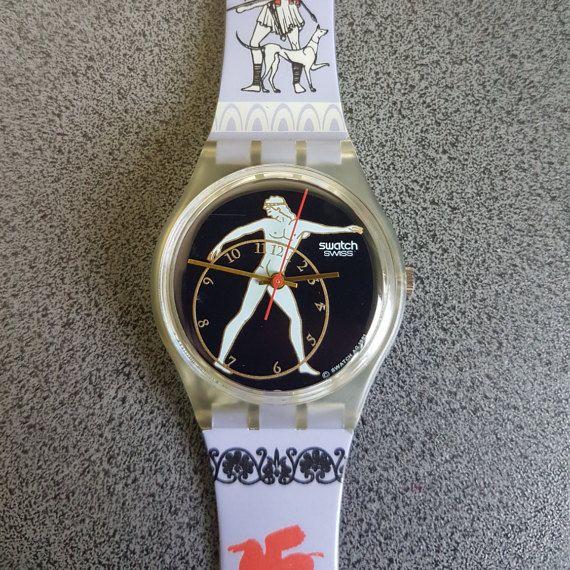 "1992 Vintage Swatch Watch Discobolus GK141, Great Collectable Swatch Model, Atletic and Greek Model    WATCH WATCH""DISCOBOLUS"" VERY RARE NEW COLLECTABLE MINT GK141 GREAT GIFT NIB   1992 Vintage Swatch Watch Discobolus GK141 .  Water resistant 30 meters / 100 feet.  Diameter case 33 mm.  Brand New, Never worn."