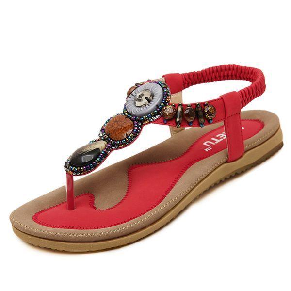 Women's Beading Flats Slingbacks Leatherette Flat Heel Sandals (1625105479)