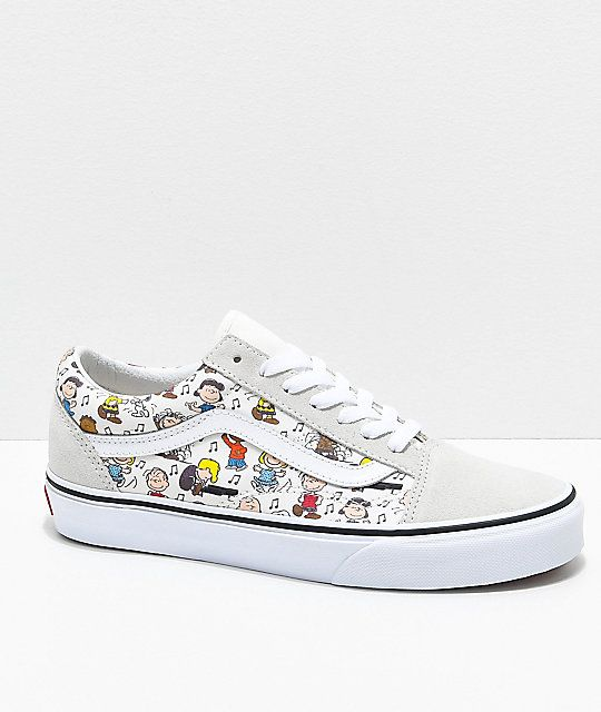 1277092b90c161 Vans x Peanuts Old Skool Multi-Colored   White Skate Shoes in 2019 ...