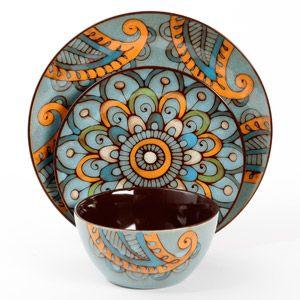 Gibson Studio Moroccan Floral 12-Piece Dinnerware Set, Reactive Glaze, Stoneware