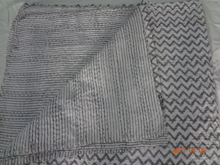 Hand Block Print 100% cotton kantha quilts Mugal Design Reversible Blanket throw #handmade #Asian