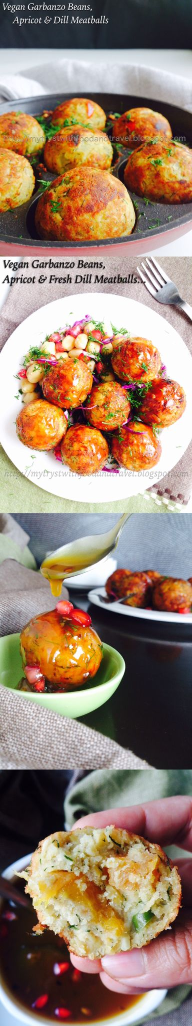 Vegan Garbanzo Beans/ Chickpeas, Apricots, Dill Meatballs. Perfect appetizer for the upcoming Super Bowl.
