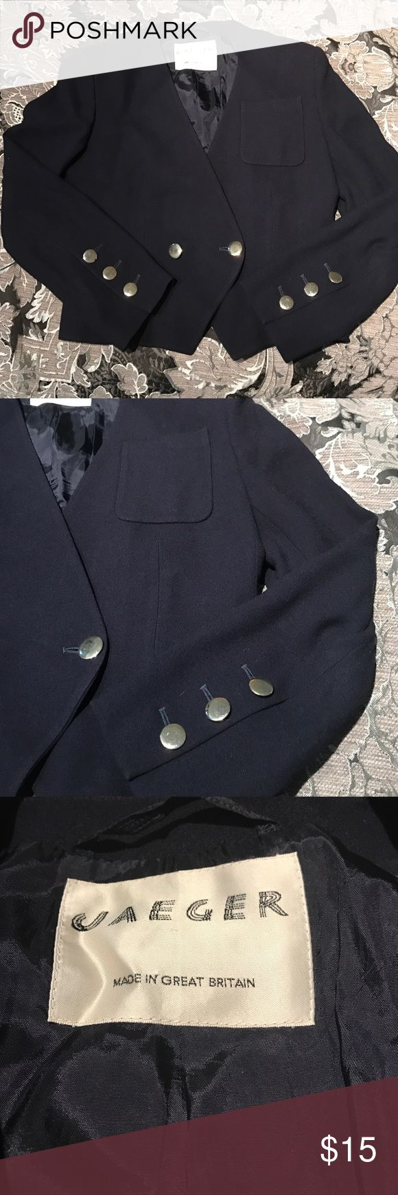 Vintage Navy Blue Blazer made in Great Britain Beautifully cut Navy Blue Blazer. 100%  Pure New Wool. USA size 8. Bust 34 in/Hip 36 in Jaeger Jackets & Coats Blazers