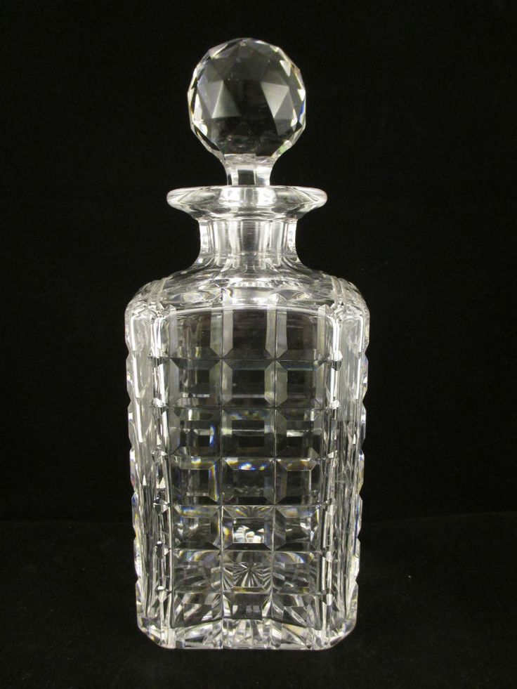 stuart crystal square cut whisky decanter with faceted ball stopper signed - Whisky Decanter