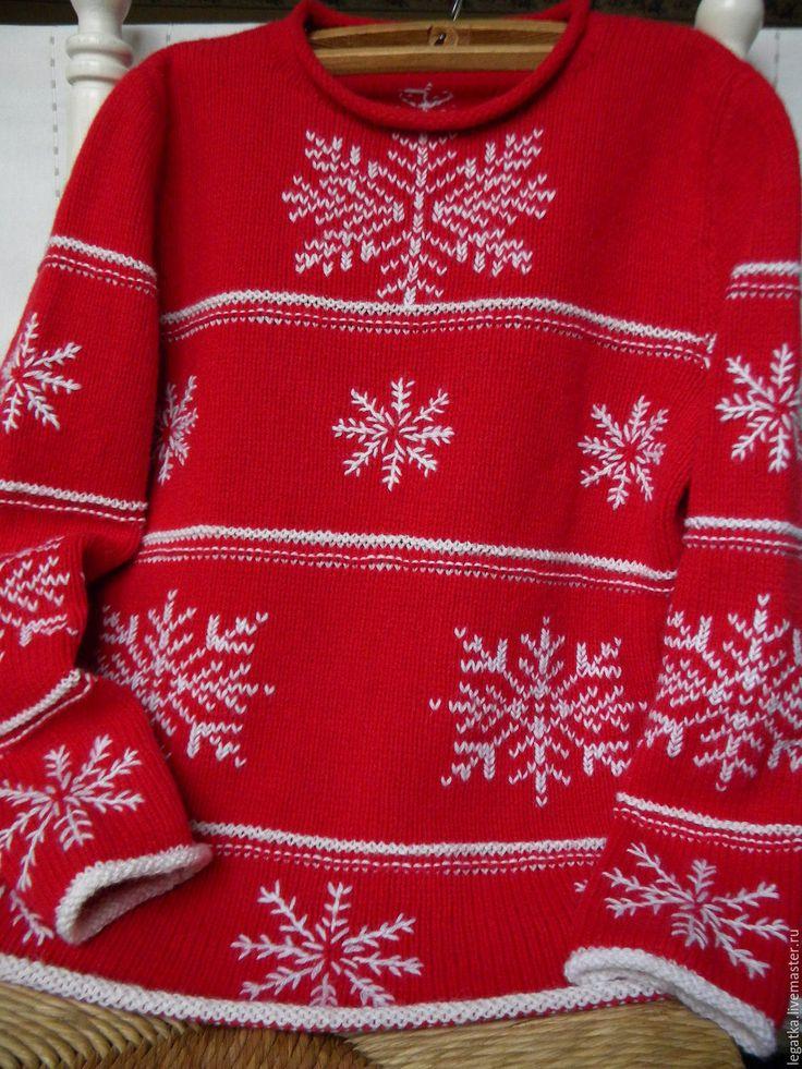 """Купить Джемпер с вышивкой """"Новогодний.Снежинки"""" - свитер с рисунком, джемпер с рисунком, свитер крупной вязки"""