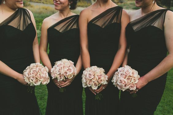black bridesmaid dresses with blush bouquets / http://www.himisspuff.com/blush-and-black-wedding-ideas/3/