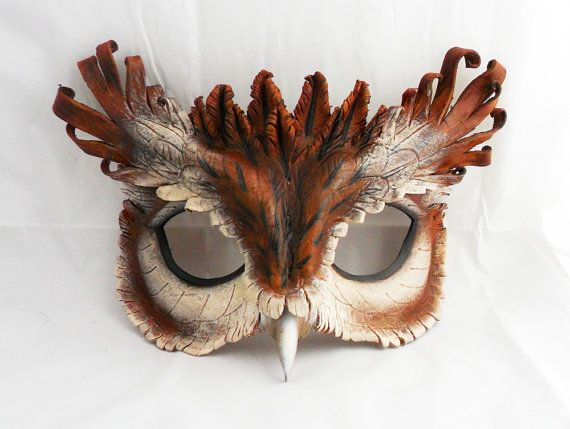 Eastern Screech Owl Leather Mask by LibertiniArts on Etsy, $125.00
