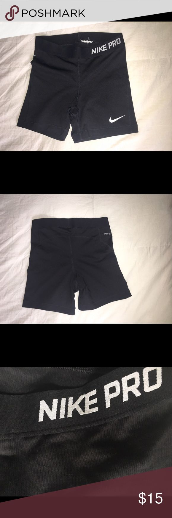 "Nike Pro Dri-FIT Women's Training shorts Nike Pro Training Shorts- Super comfy Black with White Nike logo! Dri-FIT with 3"" inseam, hardly worn. Nike Shorts"