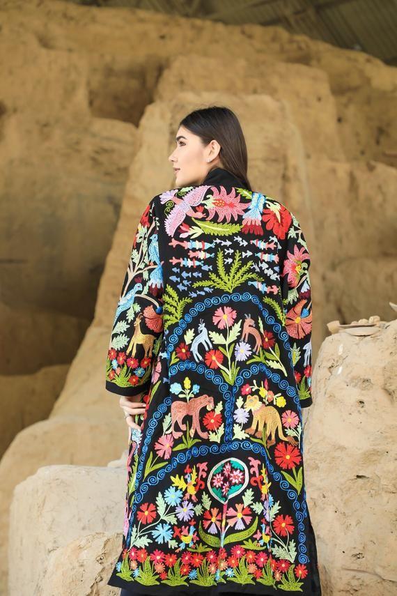 Indian Vintage Kaftan Hand Embroidered Women Dress Banjara Kaftan Coat Jacket Traditional Dress Women Clothing Long Coat