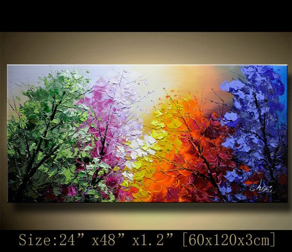 contemporary wall art,Palette Knife Painting,colorful Landscape painting,wall decor,Home Decor,Acrylic Textured Painting ON Canvas Chen 1202