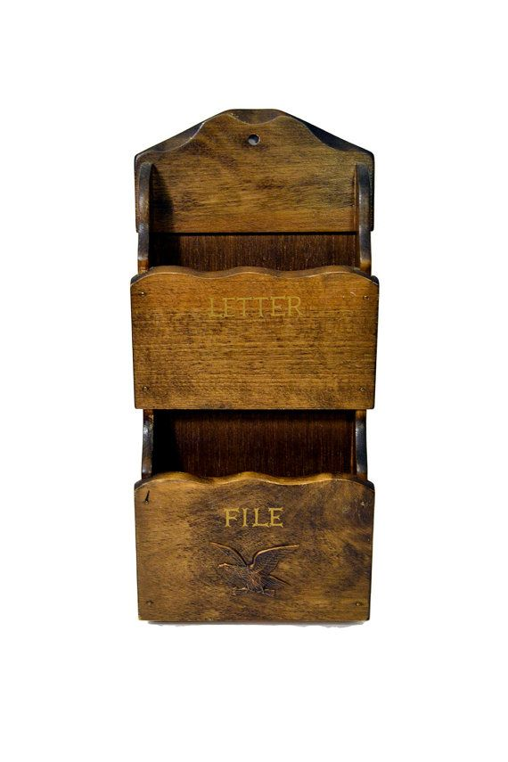 Two Pocket Wooden Mail Holder Vintage Letter File