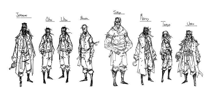 """Bocetos de personajdes de """"La muerte del capitán"""", de Nacho Felechosa, incluido en Las Catacumbas de Salem"""
