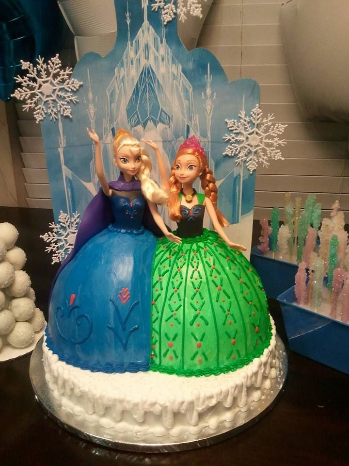 Frozen cake Anna and Elsa my girls 3rd and 4th birthday