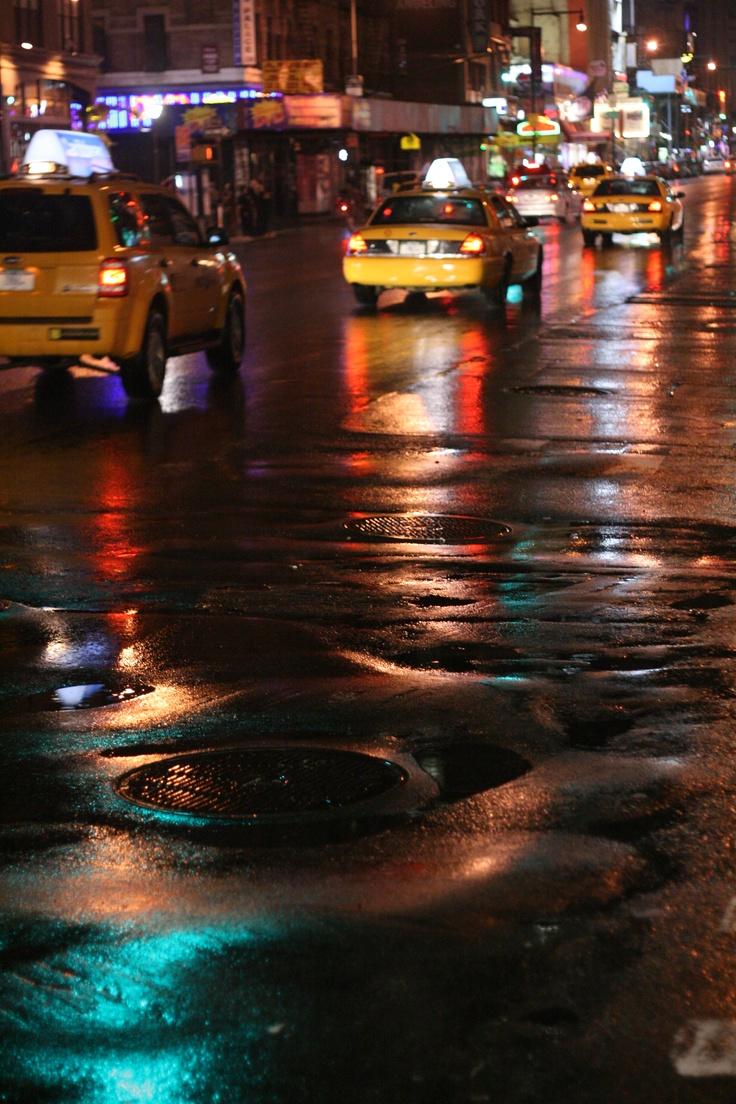 Time Square après la pluie, New York — novembre 2008