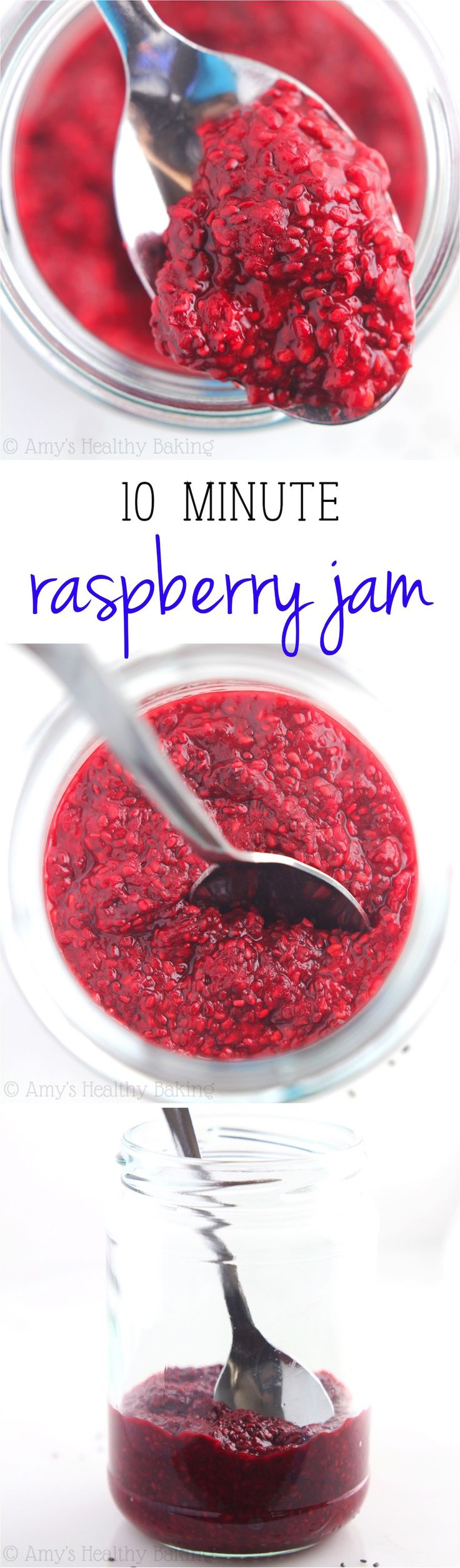 10 Minute Clean-Eating Raspberry Jam -- just 3 ingredients & no sugar! It's the easiest, sweetest & healthiest recipe I've ever tried!