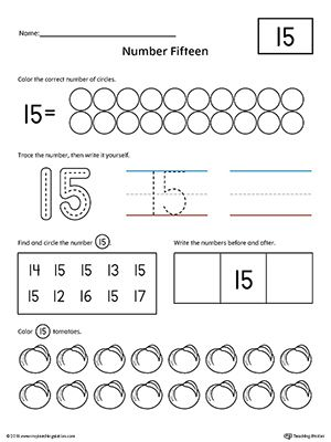 Number 15 Practice Worksheet Worksheet.Help your child practice counting, identifying, tracing, and writing number 1 with this printable worksheet.