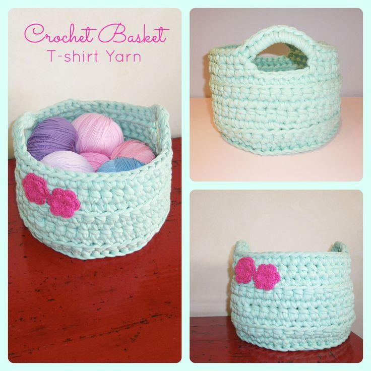 Crochet basket with t-shirt yarn. Free pattern in: http://crochetincolor.blogspot.com.es/