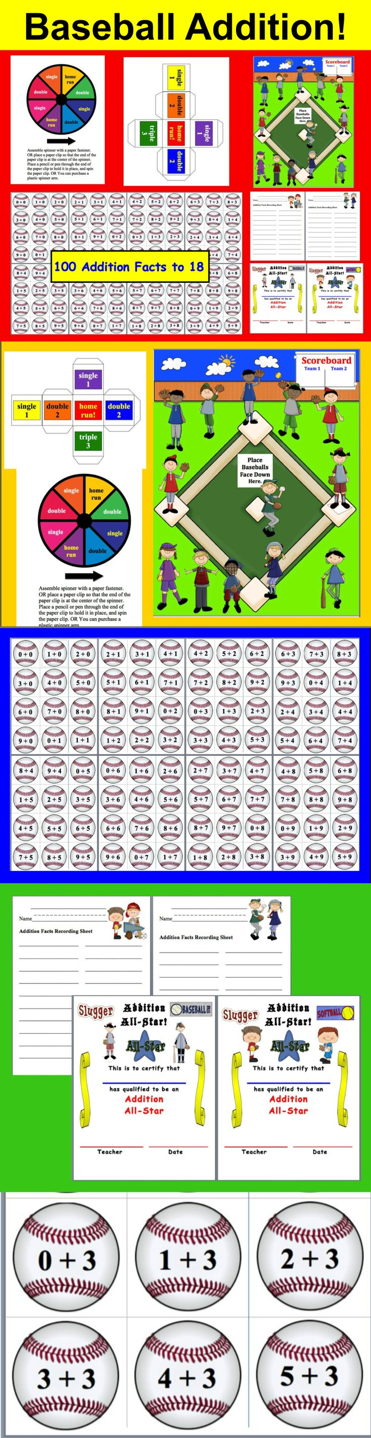 $3.25 Addition Facts Baseball -  31 Page Download - 100 addition facts to 18 on baseballs.   Prints nicely in black and white as well.   optional recording sheets and 2 Addition All-Star Awards.  File also contains  2 sizes of Game board (9x12 and 12x18),  2 sizes of baseball dice and a baseball spinner.