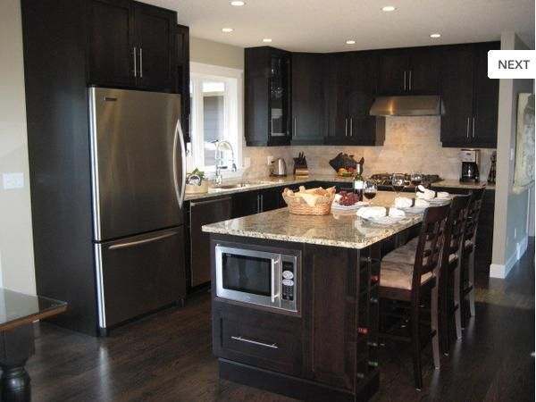 Dark Cabinets And Dark Flooring · Small KitchensModern ...
