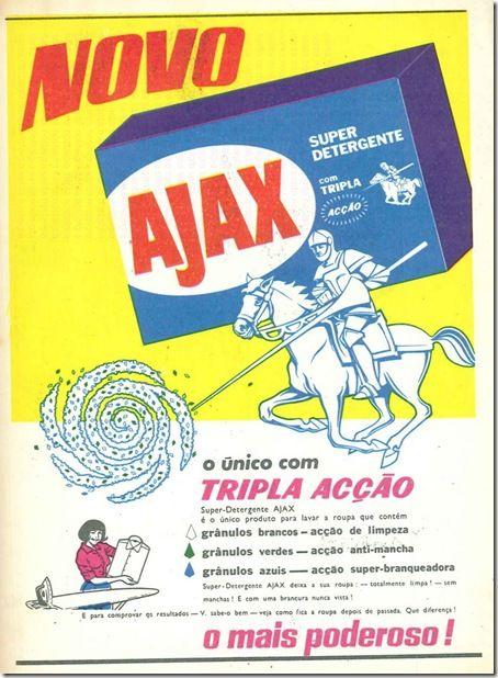 Publicidad portuguesa del detergente ajax. En España los paquetes de detergente incluían una reproducción en plástico blanco del caballero del anuncio, destinado al público infantil y a que sus madres comprasen el detergente.