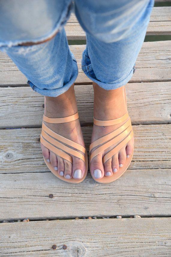 Griekse sandalen Slip op sandalen zomer Flats door madammeshushu
