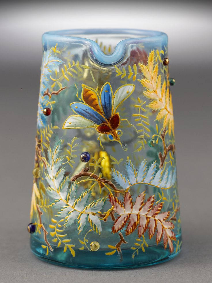 Antique Bohemian Art Glass, Antique Glassware, Antique Moser Glass Creamer ~ M.S. Rau Antiques | JV