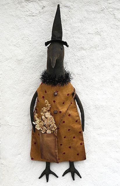 Free Primitive Doll Patterns   Free Stuffed Crow Pattern   Primitive Crow Doll in a ...   animal dol ...