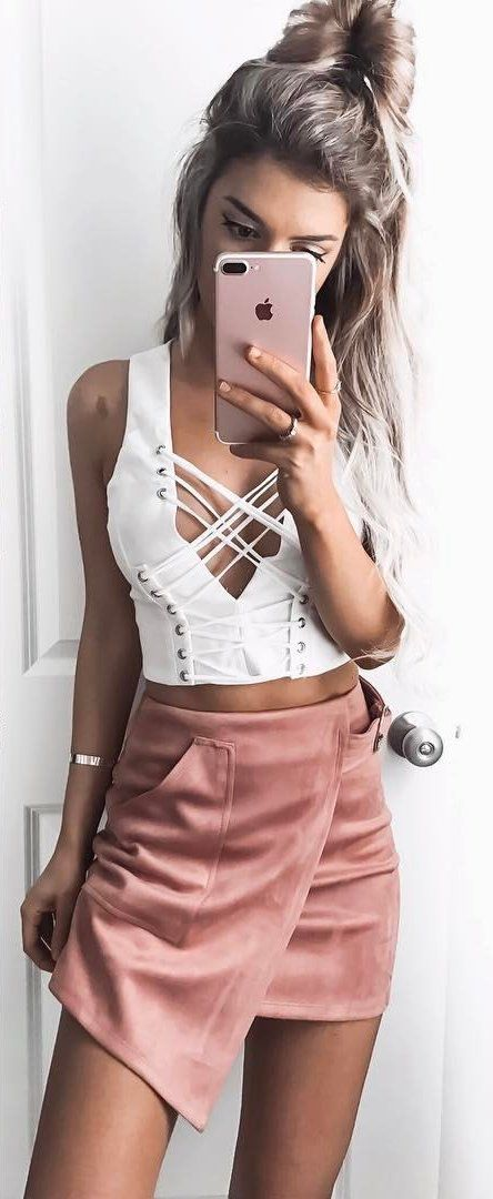 #summer #outfits  White Tie-up Crop Top + Pink Suede Wrap Skirt