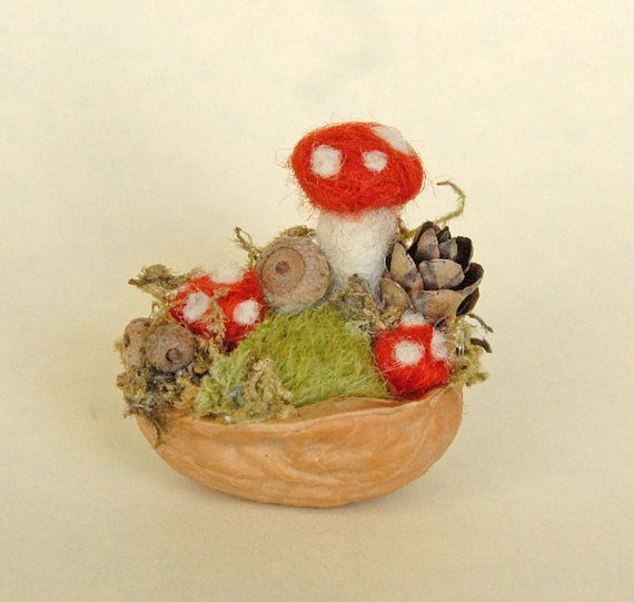 Needle Felted Tiny Mushroom Garden. In a walnut shell. Oh god, the cute, it hurts...