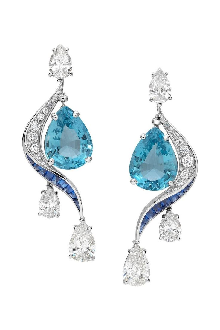 Bulgari Aquamarine, sapphire and diamond earrings …