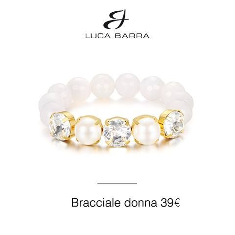 Bracciale in metallo con bagno in oro giallo, perle sintetiche, cristalli e agata bianca Luca Barra Gioielli. #braccialedonna #lucabarra #newcollection #style #fashion