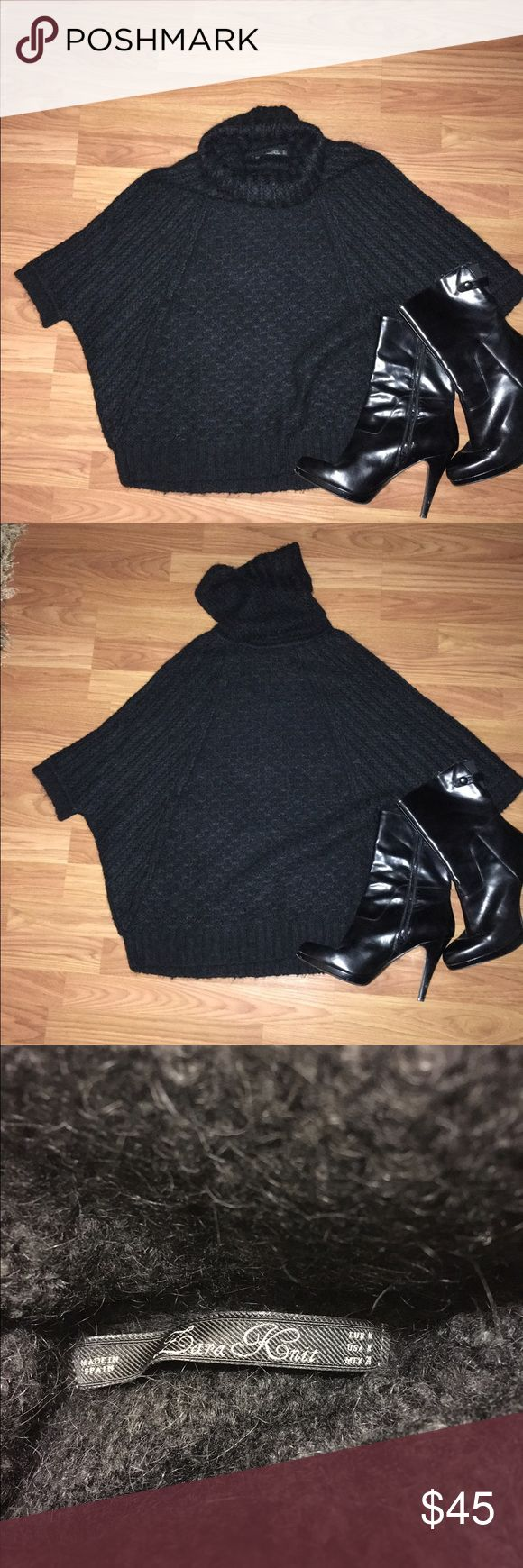 Zara Batwing Turtleneck Sweater Gorgeous Black Batwing T-Neck sweater. Size Medium. Zara knit. Retailed for 98. Sleeves reach to elbow length ( approx). Worn with layering shirt underneath. Gently used. Great for fall & winter! Price negotiable! Zara Sweaters Cowl & Turtlenecks