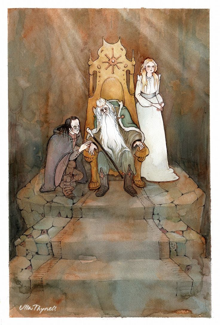 I really love Ulla Thynell's whimsical, and charming style - her view of MiddleEarth is endearing! § The King of the Golden Hall by ullakko.deviantart.com on @deviantART
