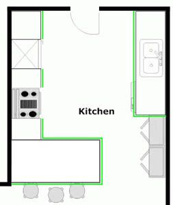 Kitchen Layout with Breakfast Bar - Another option if you wanted to leave the wall.  Or needed to.
