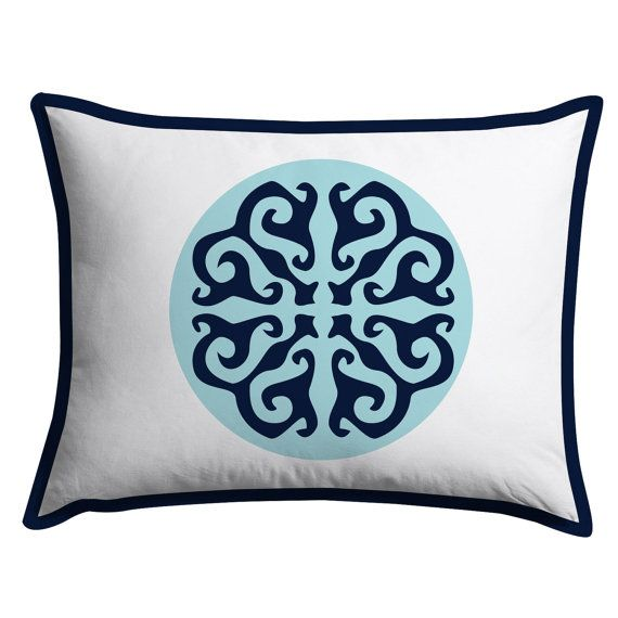 Light Blue and Navy Flower Medallion Duvet Cover by PCTextileCo
