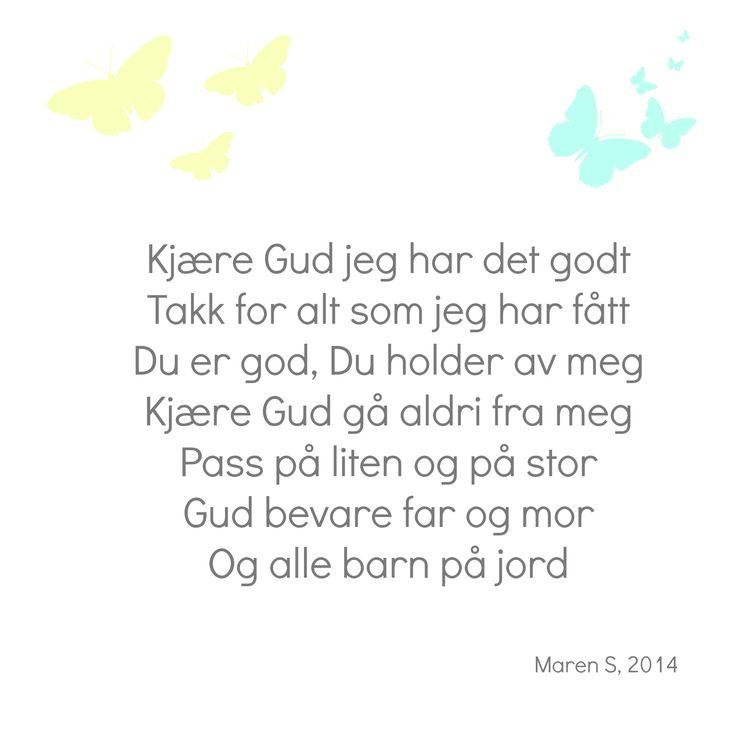 Kjære Gud, i farger. Barnesanger. Barnerom. Interiør. Nursery. Poster. Print. Maren S, 2014
