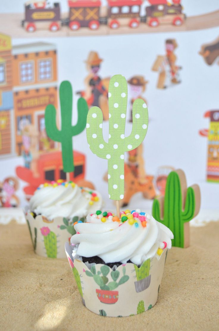 Spice up your fiesta party this year with these wonderful cactus decorations. Place them on cupcakes, the top of a cake, or even burritos to add a special flair to your party. Use the drop down menu to easily select the quantity and color that works best for you!  Each cactus topper is 3 tall and a