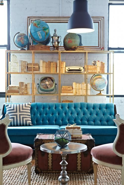 blue sofa: Blue Velvet, Gold Shelves, Living Rooms, Blue Couch, Decoration, Globes, Interiors Design, Blue Sofa, Design Sponge