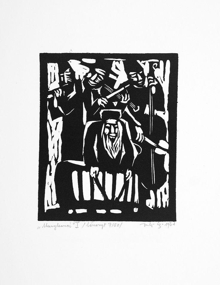 Jerzy Duda Gracz | MUZYKANCI I, Z CYKLU JUDAICA, 1964 | linoryt, papier | 12.4 x 10.2 cm