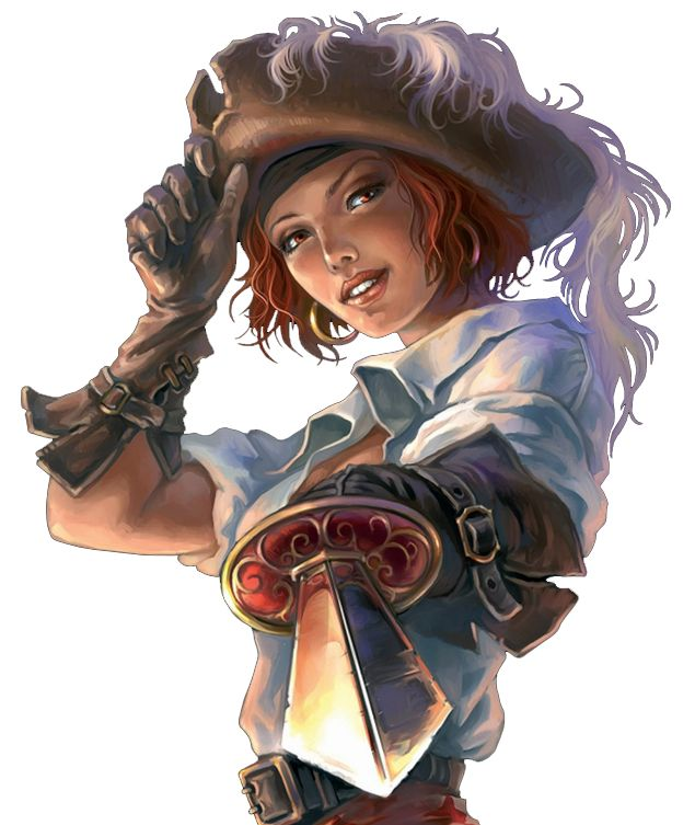 Halfling Swashbuckler - hat with feather, leather gloves, loose white shirt, pointing a sword at you.