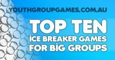 Top ten ice breaker games for big groups, icebreaker games for large groups, youth group icebreakers, icebreaker games for big groups Games, ideas, icebreakers, activities for youth groups, youth ministry and churches.