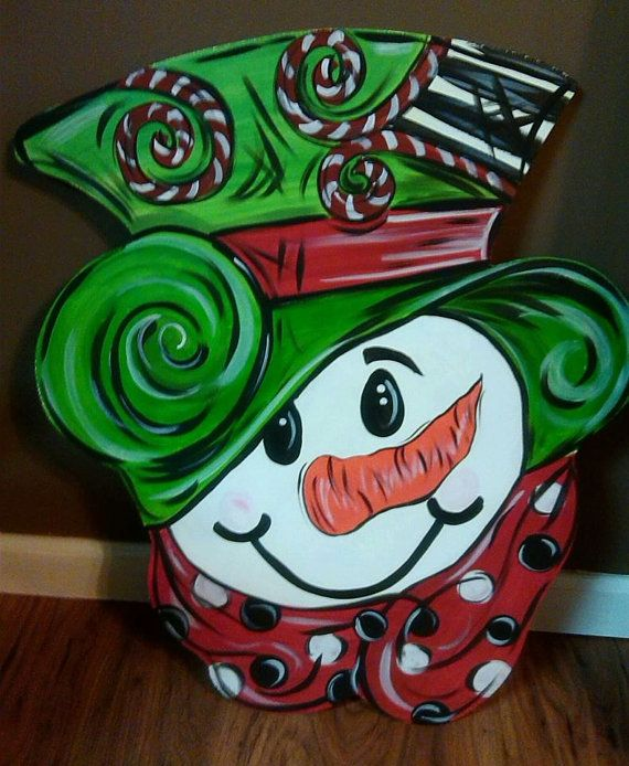 Snowman Door Hanger by ItsJustMarvelous on Etsy, $25.00