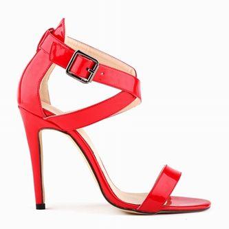 2016 новое лето женщины открытым носком пряжки сандалии тонкие высокий каблук мода черный / красный вырез большой размер 35 - 42