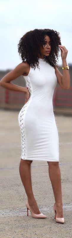 All White Lace Up Dress by V A N N A É // Fashion Look by Briea Dior
