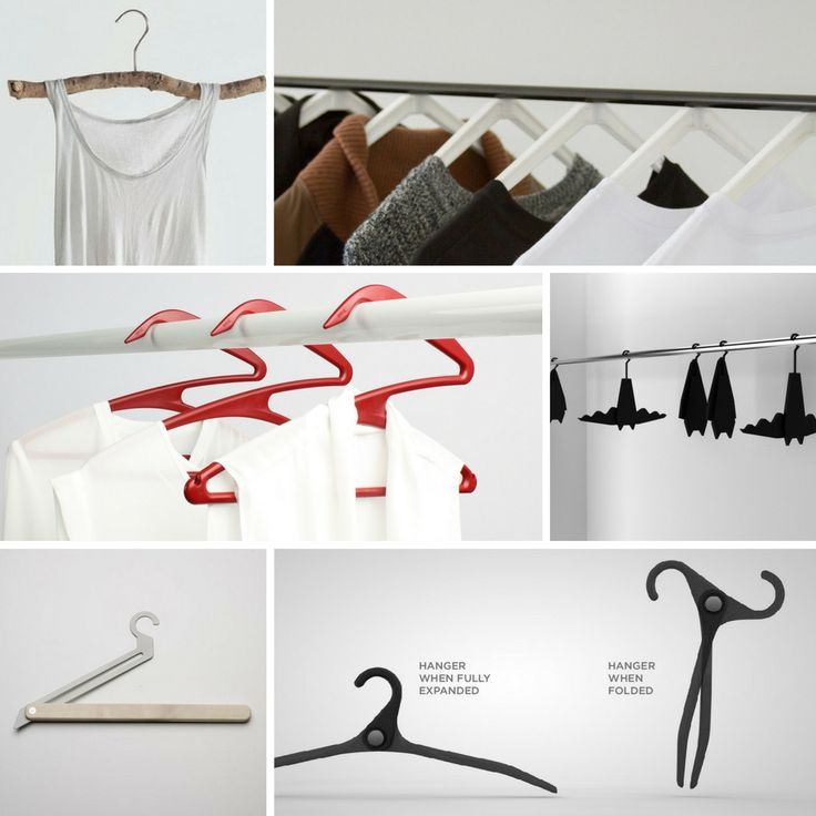 Hung up on traditional clothes hangers? Check out these trendy and modern alternatives!  From Top Left:  Handmade Tree Branch Hangers, Magnetic Clothes Hangers, Z Shaped Hangers, Batman Hangers, T-Square Retractable Hangers, and Colaspable Hangers  #wardrobe #closet #coathangers #clotheshangers #batman #modern #trendy #handmade #tree #branch #magnetic #gadgets #red #storagesolutions #creativeideas