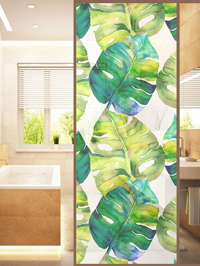 Palm Leaf Print Translucent Frosted Glass Sticker Green 47 23