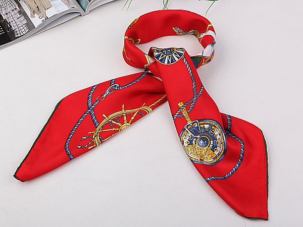"""Large Square Silk Twill Scarf with Hand Rolled Hem 36""""x36""""(90x90cm) Red Theme…"""