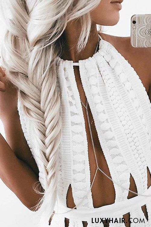 Massive braids ft. #luxyhairextensions <3 The stunning @emilyrosehannon wears her Ash Blonde Luxies for thickness in this braid.